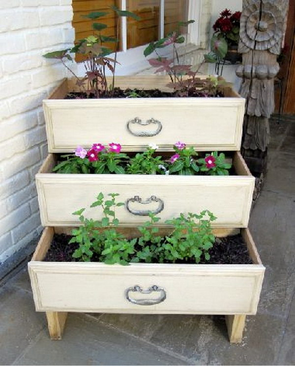 Repurposed Old Dresser Drawer Vertical Garden Planter