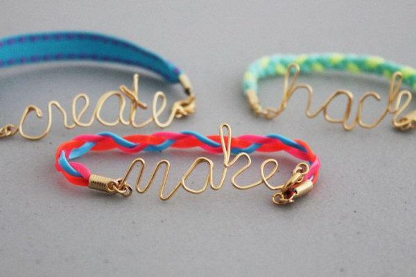 Wire Word Friendship Bracelets.
