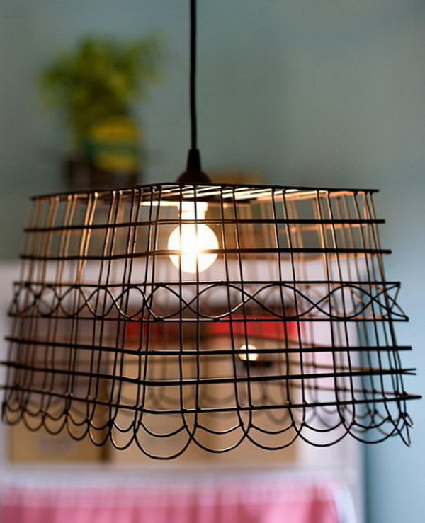 DIY Basket Lampshade.