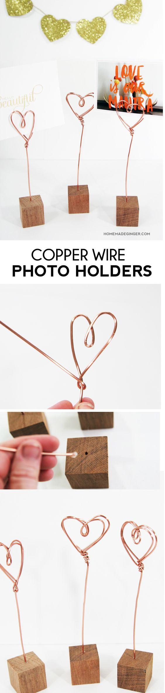 Copper Wire Photo Holders.