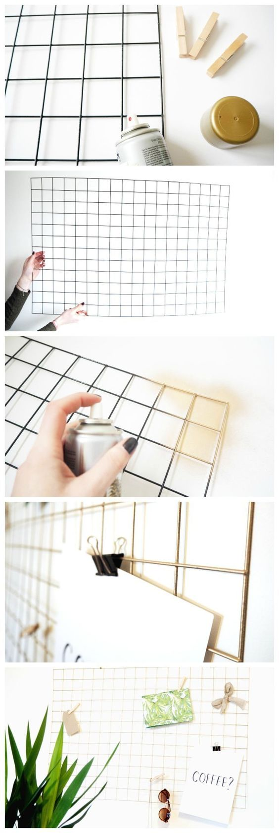 DIY Gold Wire Memo Board.