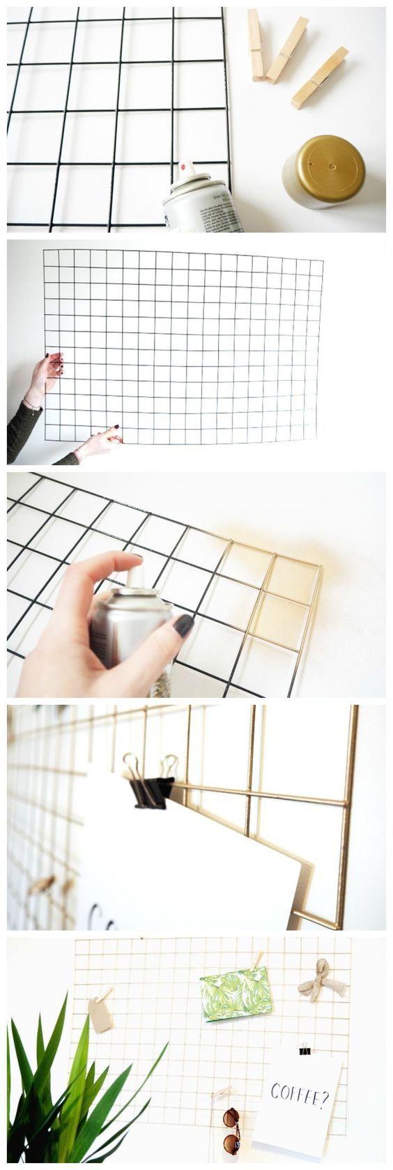 DIY Gold Wire Memo Board.