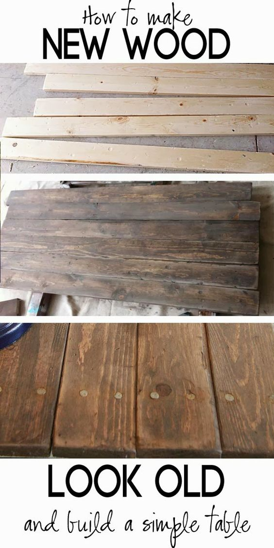 Build a Rustic Sofa Table and Make New Wood Look Like Old Barn Wood.