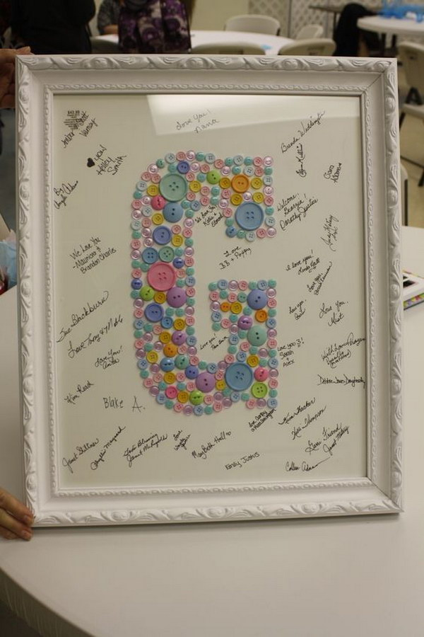 Framed Baby Button Initial Sign In