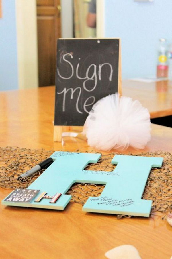 Baby's Wooden Initial Guest Book