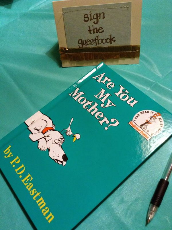 Baby Shower Book Sign In Using A Children's book