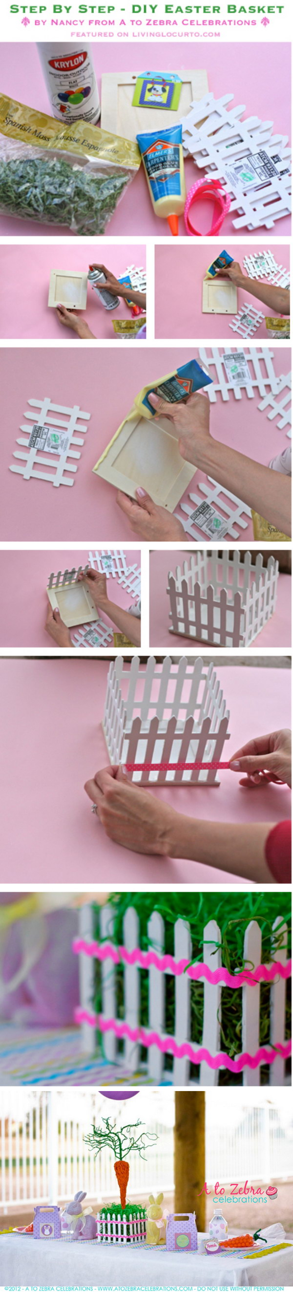 DIY Easter Picket Fence Basket Centerpiece.