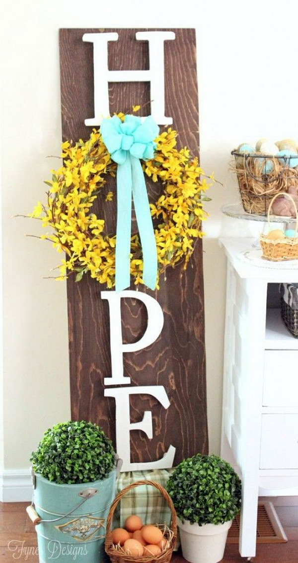 Wooden Hope Easter Wreath Sign.