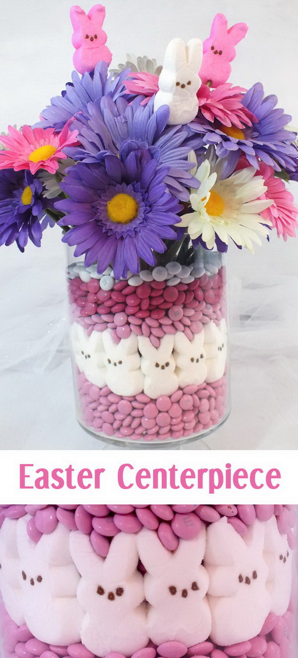 DIY Pink and Purple Easter Centerpiece.
