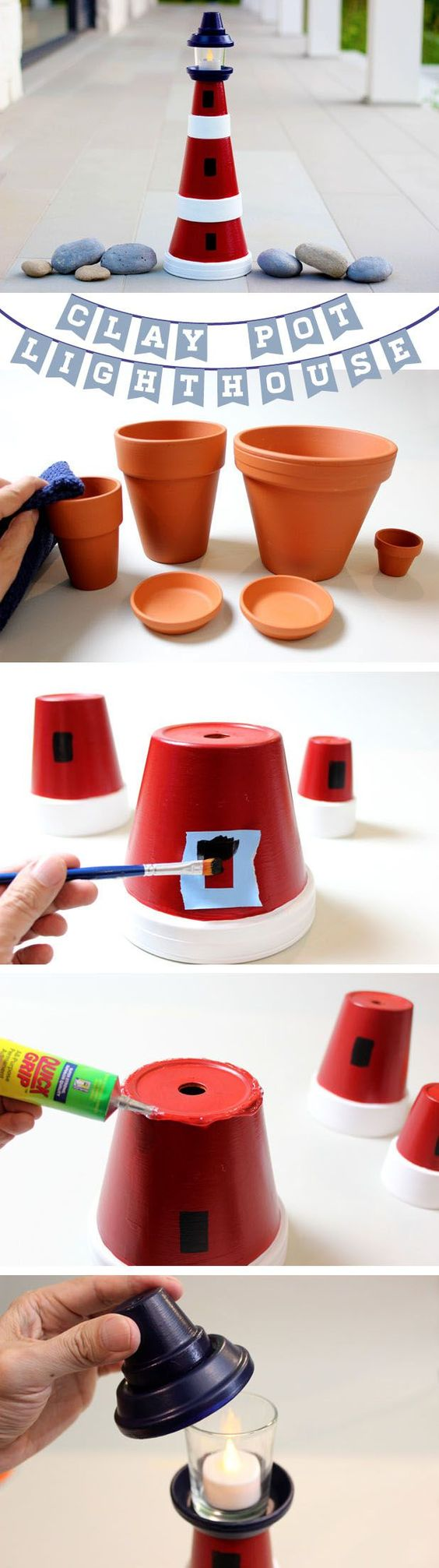 DIY Lighthouse Made From Terra Cotta Clay Pots.