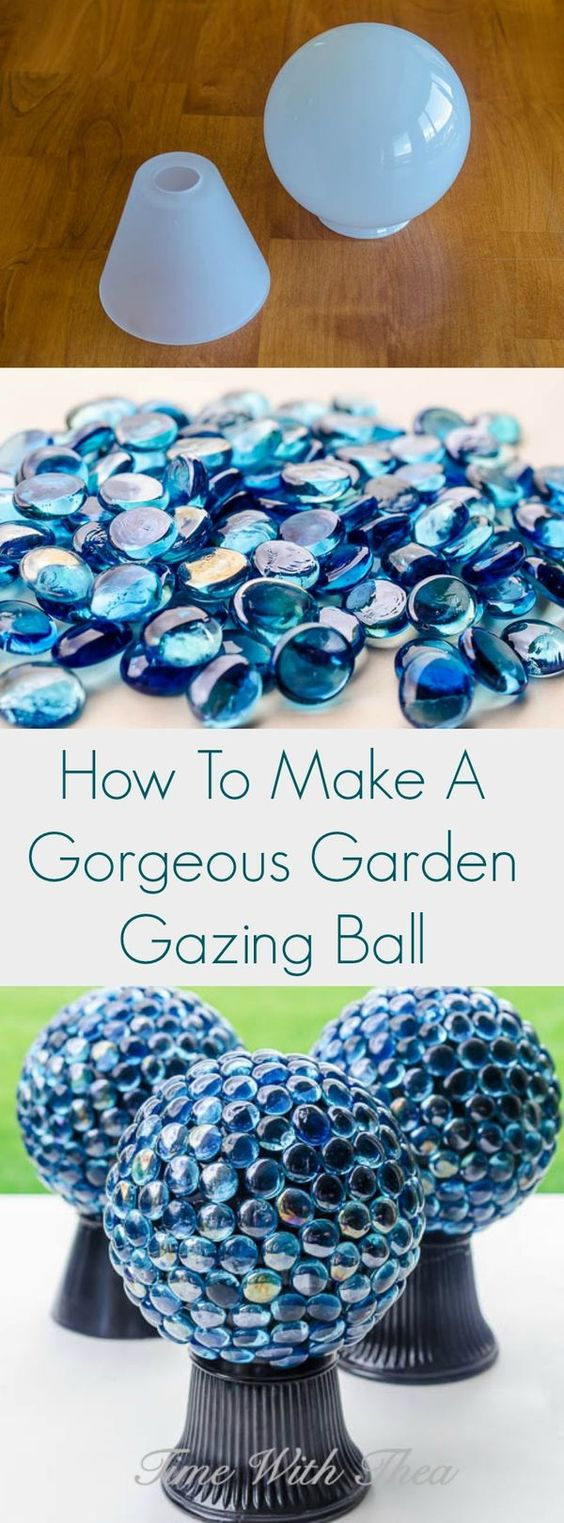 DIY Garden Gazing Ball Made Out Of Dollar Store Items.