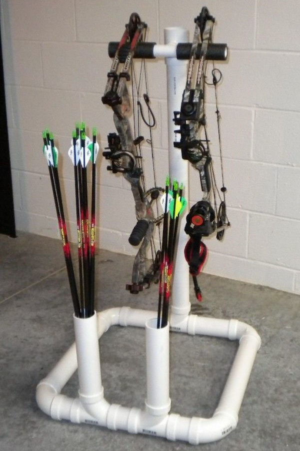 Bow Stand. This pvc bow stand makes practicing your archery so much easier and more convienent. It's a great gift idea for hunt lovers.