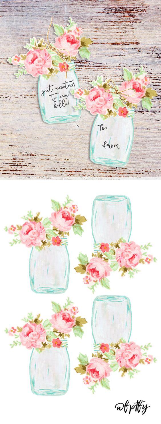 Mason Jar Floral Tags.