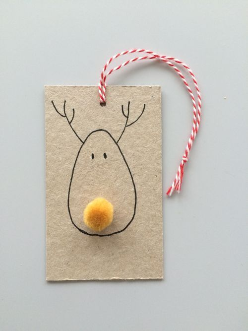 Super Easy Pompom Reindeer Tags.