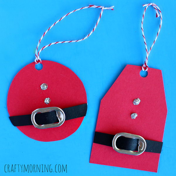 DIY Santa Gift Tags Using Soda Can Tabs.