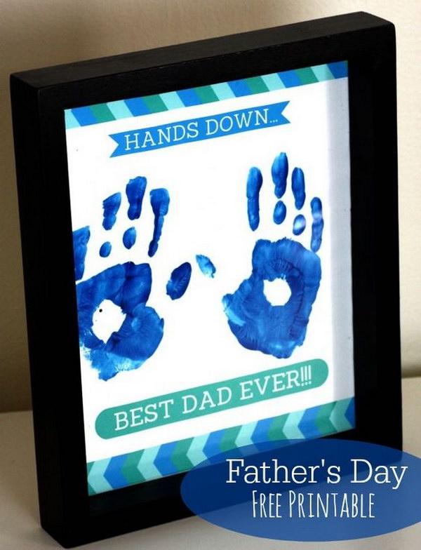 Hands Down Best Dad Handprint Frame