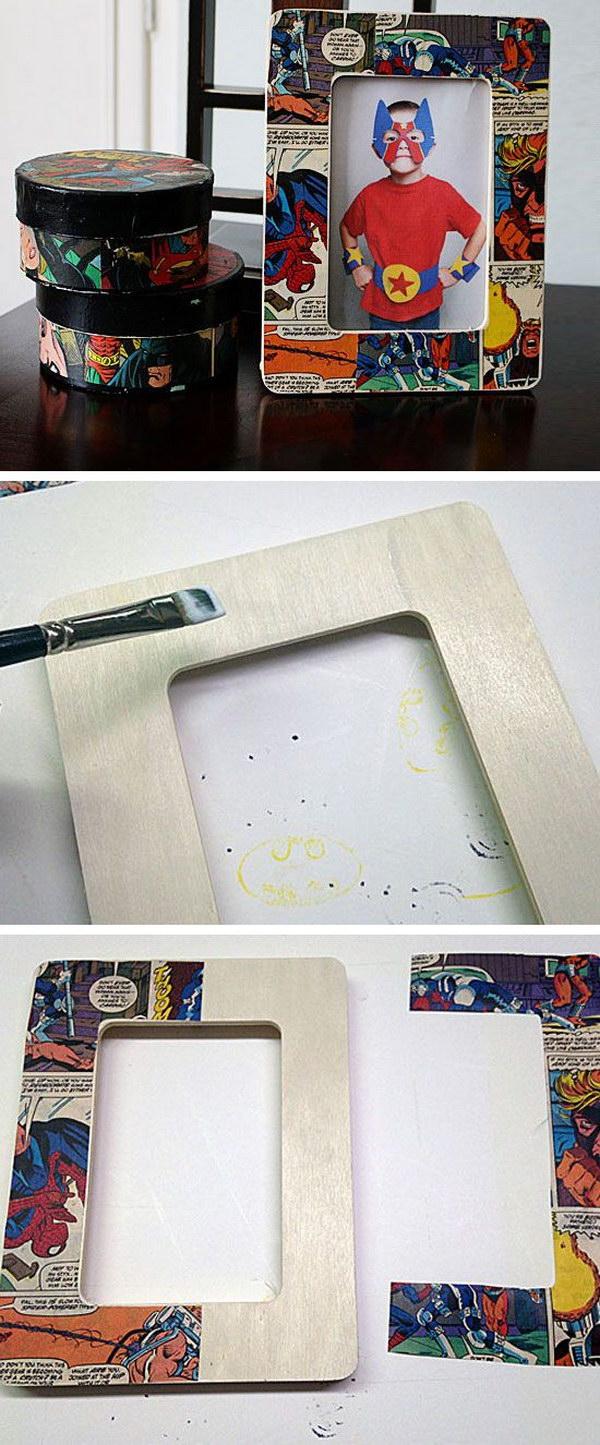 DIY Wood Comic Craft Decoupage Frame