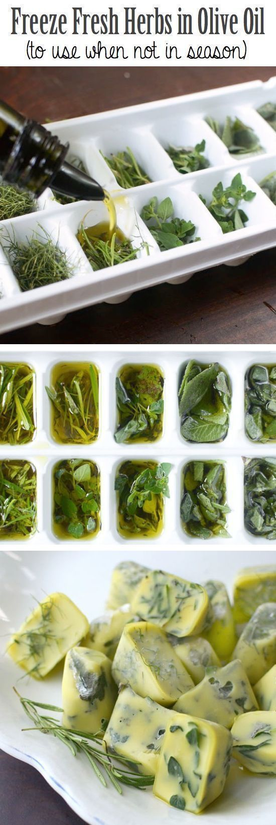 Preserve herbs by freezing them in an ice cube tray with olive oil.