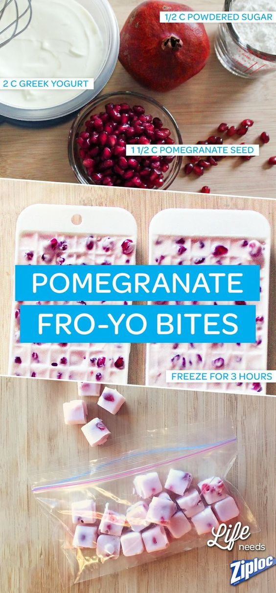 Frozen Greek Yogurt and Pomegranate Bites.