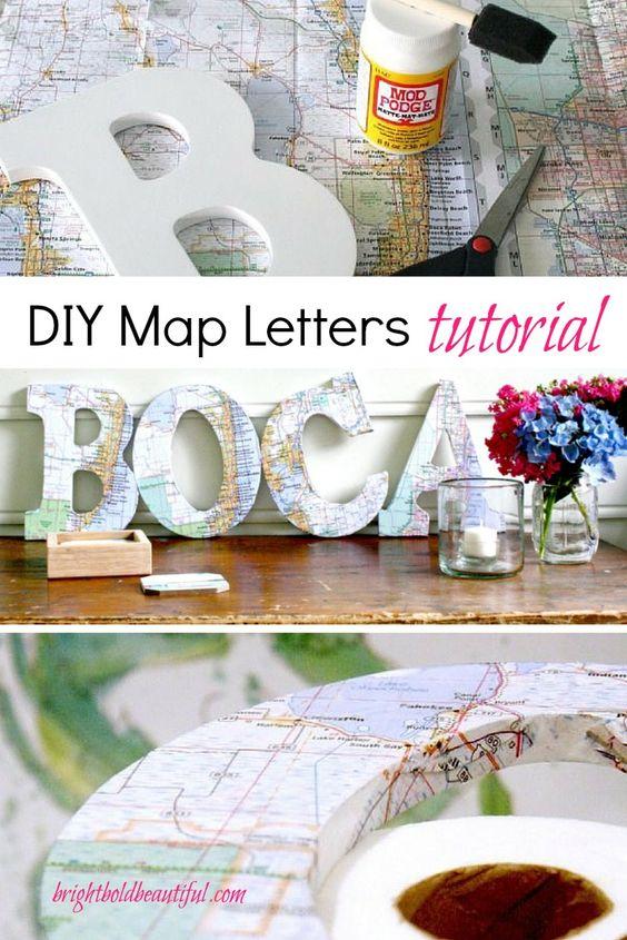 DIY Map Letters.