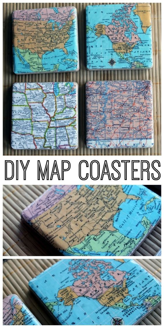 DIY Map Coasters 20 Travel Map Themed