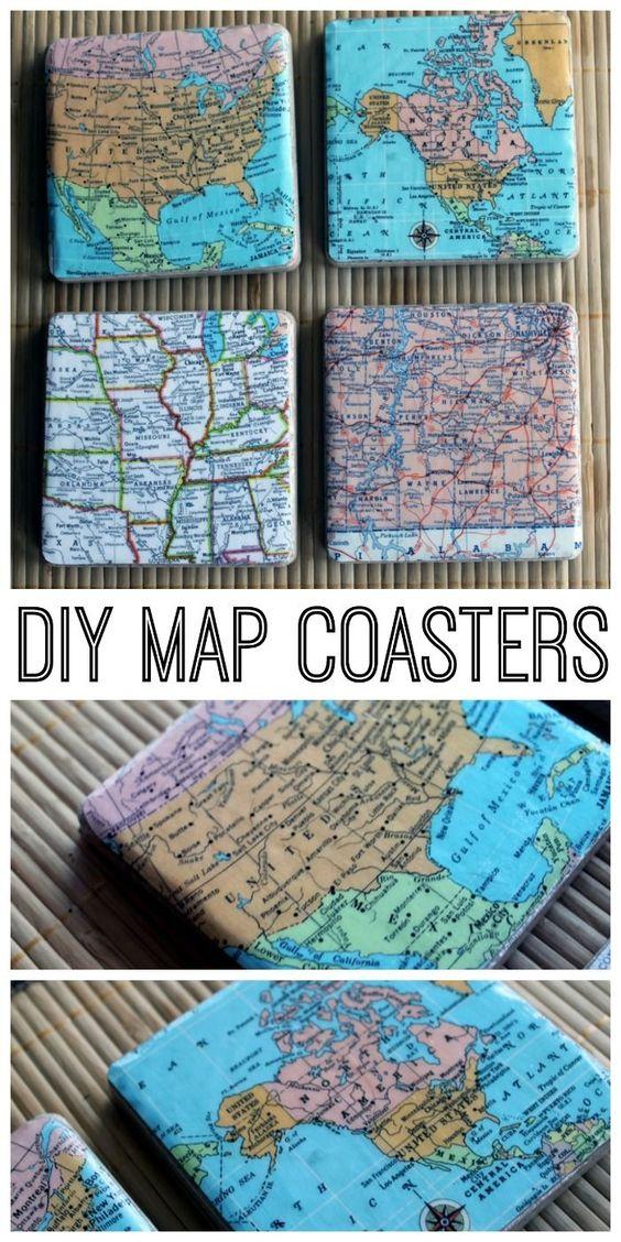 DIY Map Coasters.