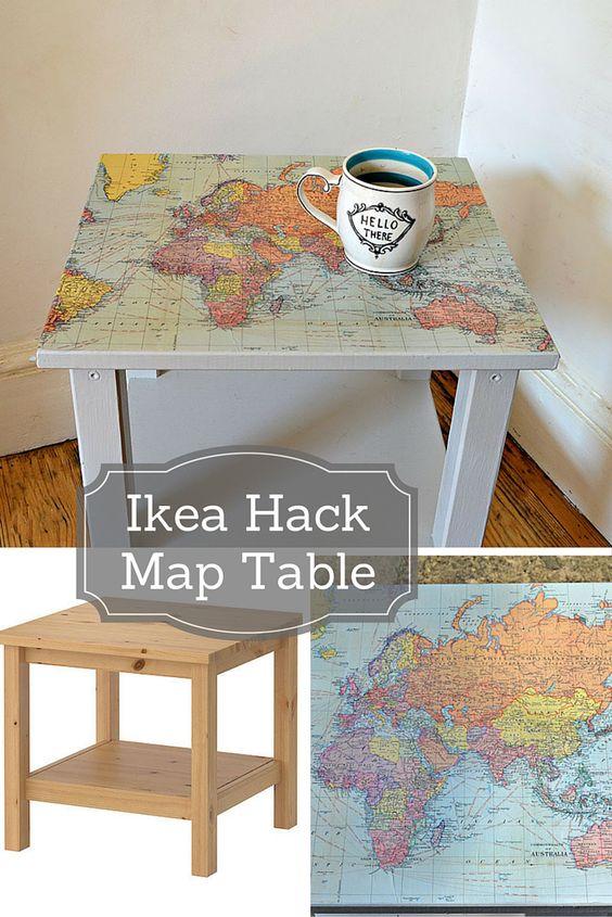 IKEA Hack Map Table.