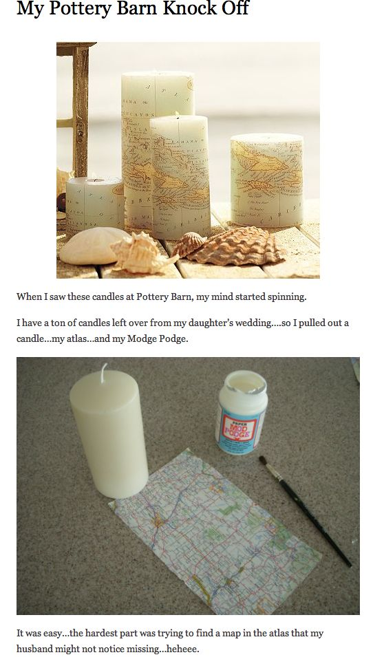Map Covered Candle.