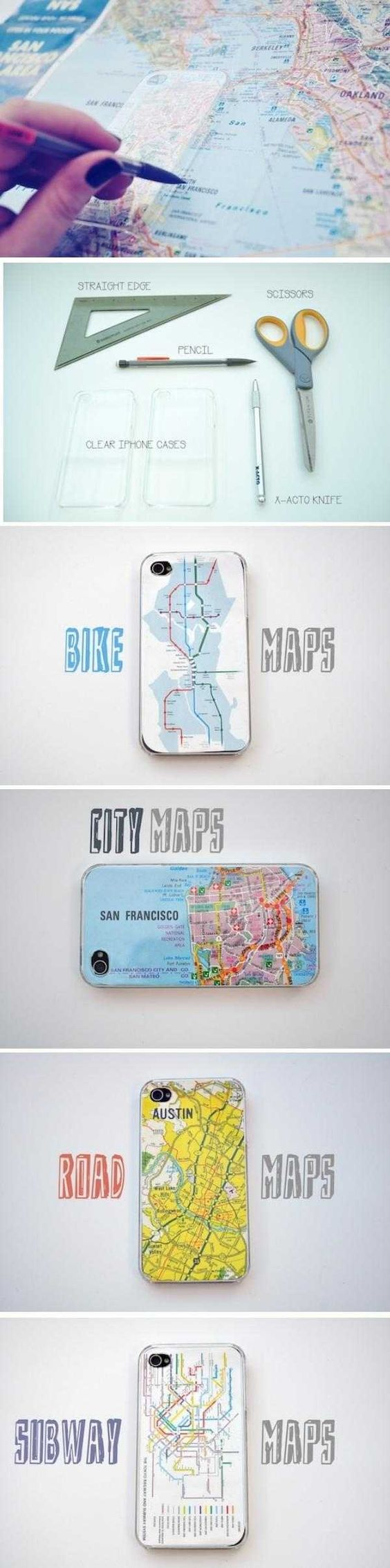 DIY Iphone Map Case.