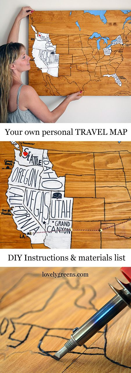 DIY Wood Burning Travel Map.