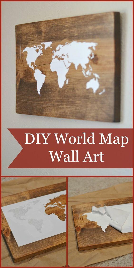 DIY World Map Wall Art Using Image Transferring Technique.