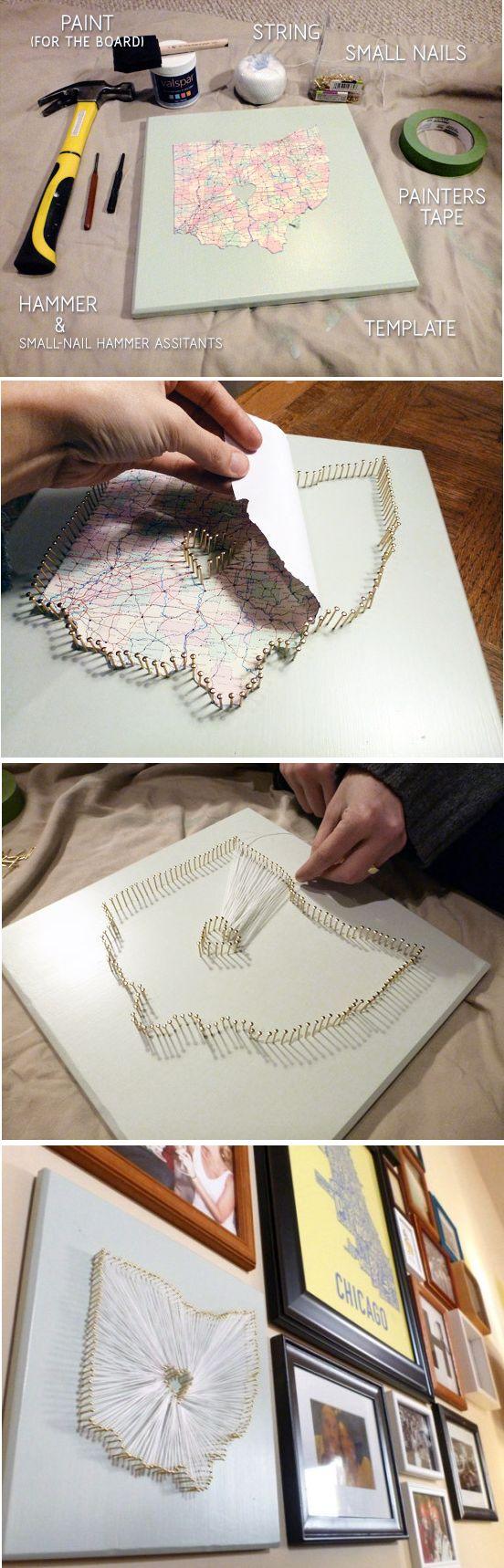 DIY String Map Art.