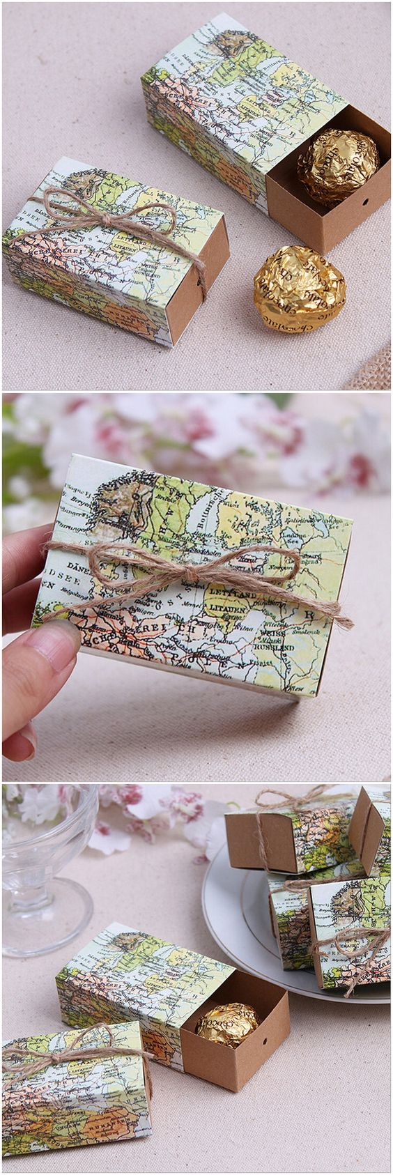 Travel Themed Wedding Favor Boxes.