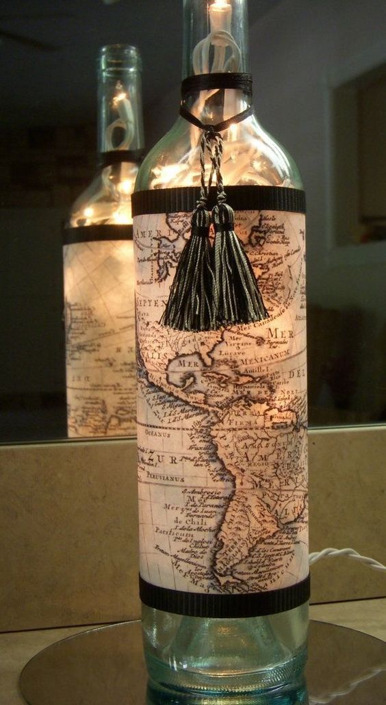 Map Decorated Wine Bottle Lamp.