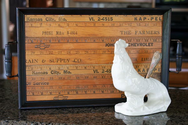Old Ruler Decorated Tray. Use old meter sticks to turn a tray into a decorative accent in your home! Learn how to make it