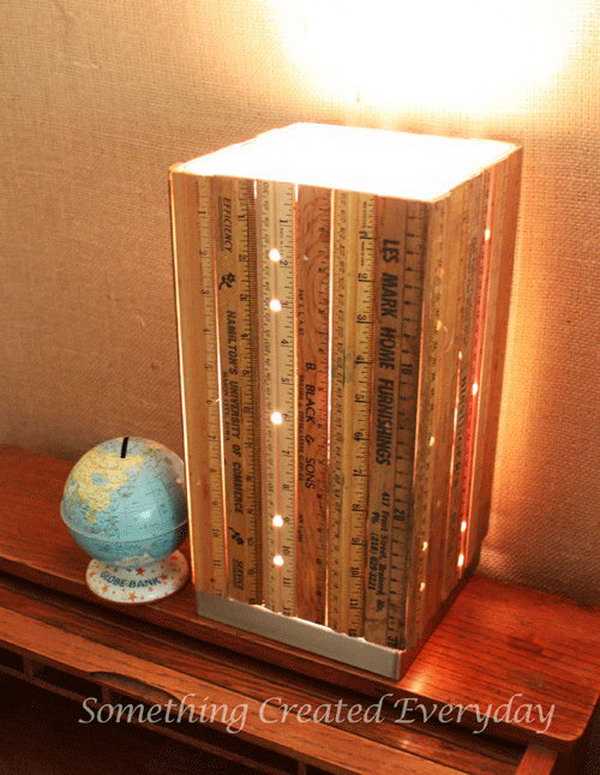 DIY Ruler Lamp. If you like a shabby chic decorating style for your home, you can give this vintage ruler lamp a try. Get the step-by-step tutorial