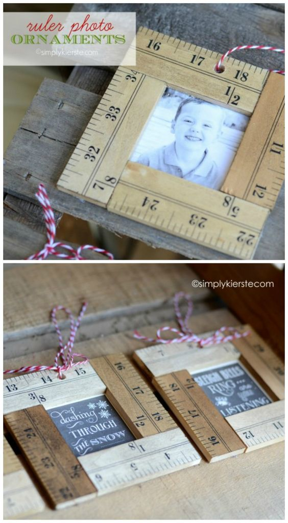 DIY Ruler Photo Ornaments.