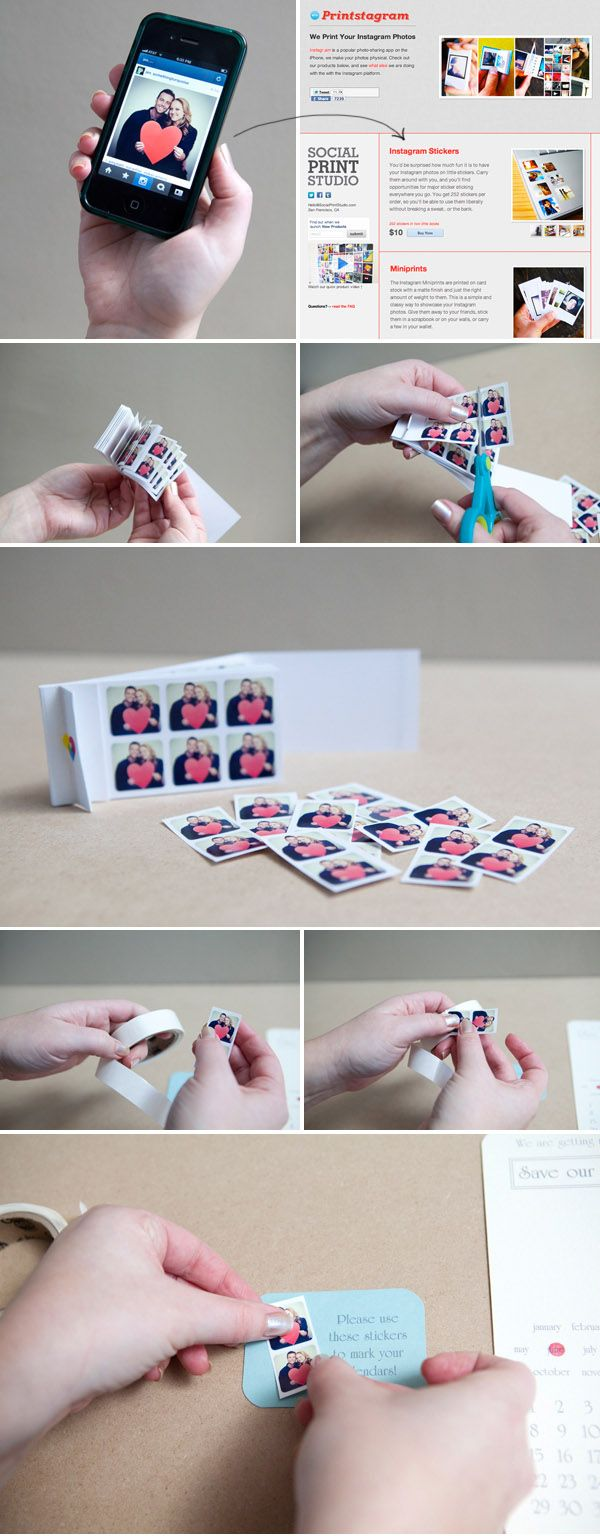 DIY Save the Date Instagram Calendar Stickers