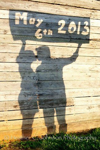 Cardboard Cut Out Shadow Save The Date Photo Idea.