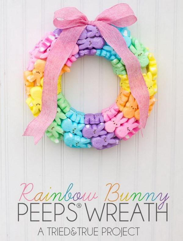 Rainbow Bunny Peeps Wreath