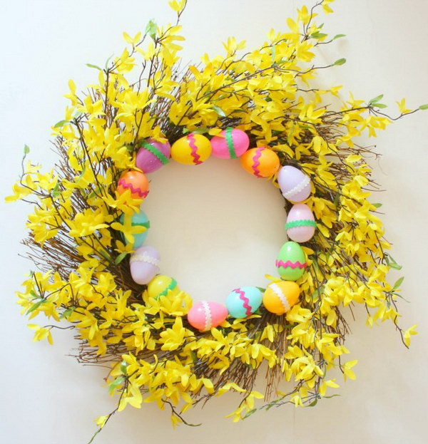 Beautiful Spring Wreath with Realistic Forsythia and Easter Eggs
