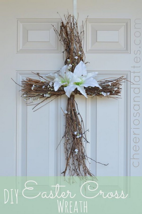 DIY Cross Wreath with White Lilies