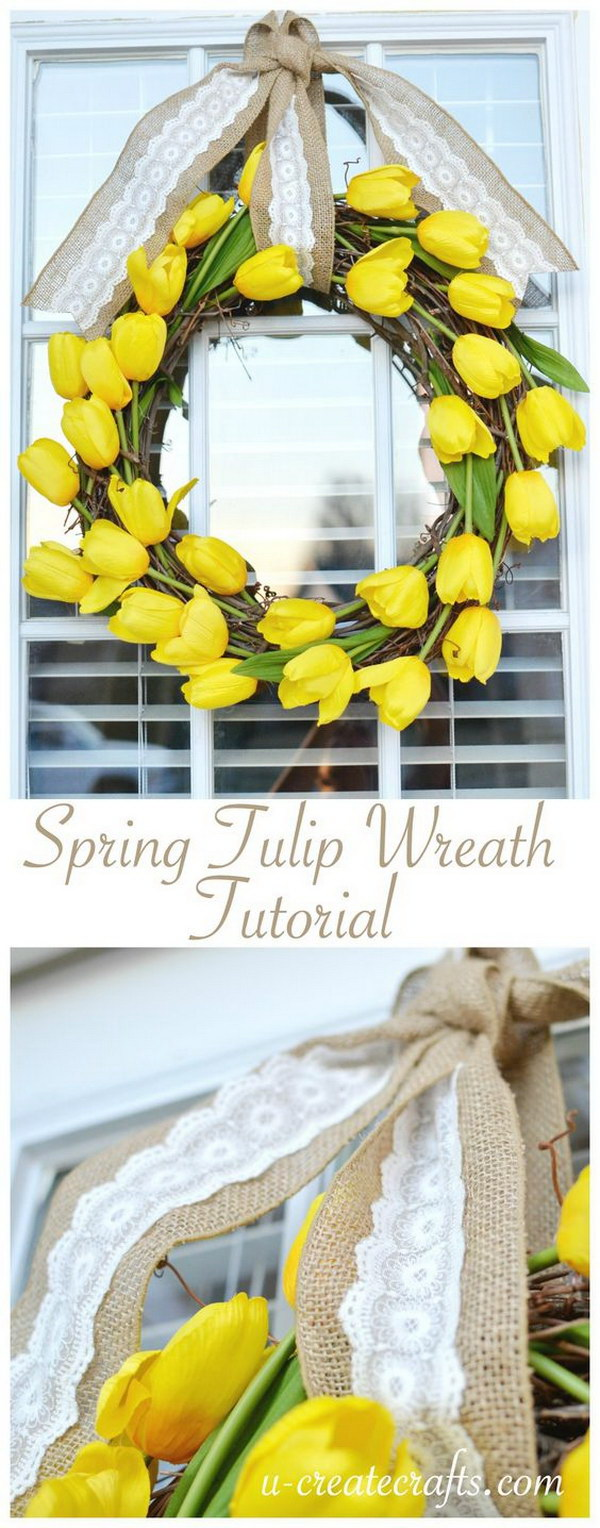 DIY Easy Tulip Wreath