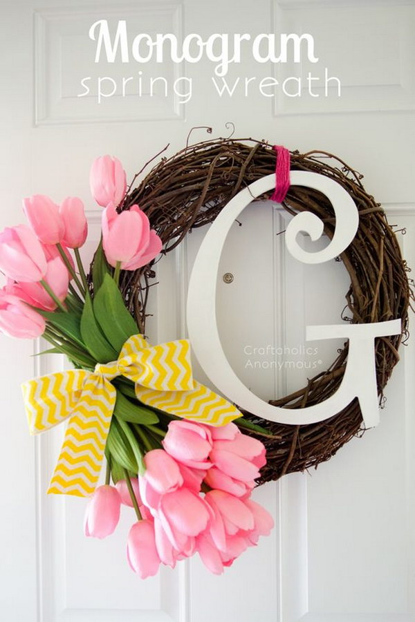 DIY Monogram Spring Wreath