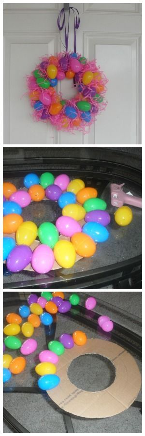 Easy Plastic Egg Wreath for Easter.