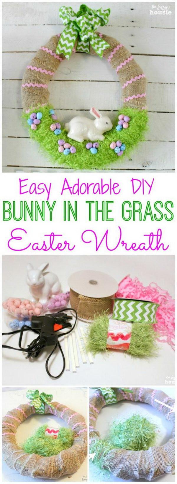 DIY Bunny in the Grass Wreath