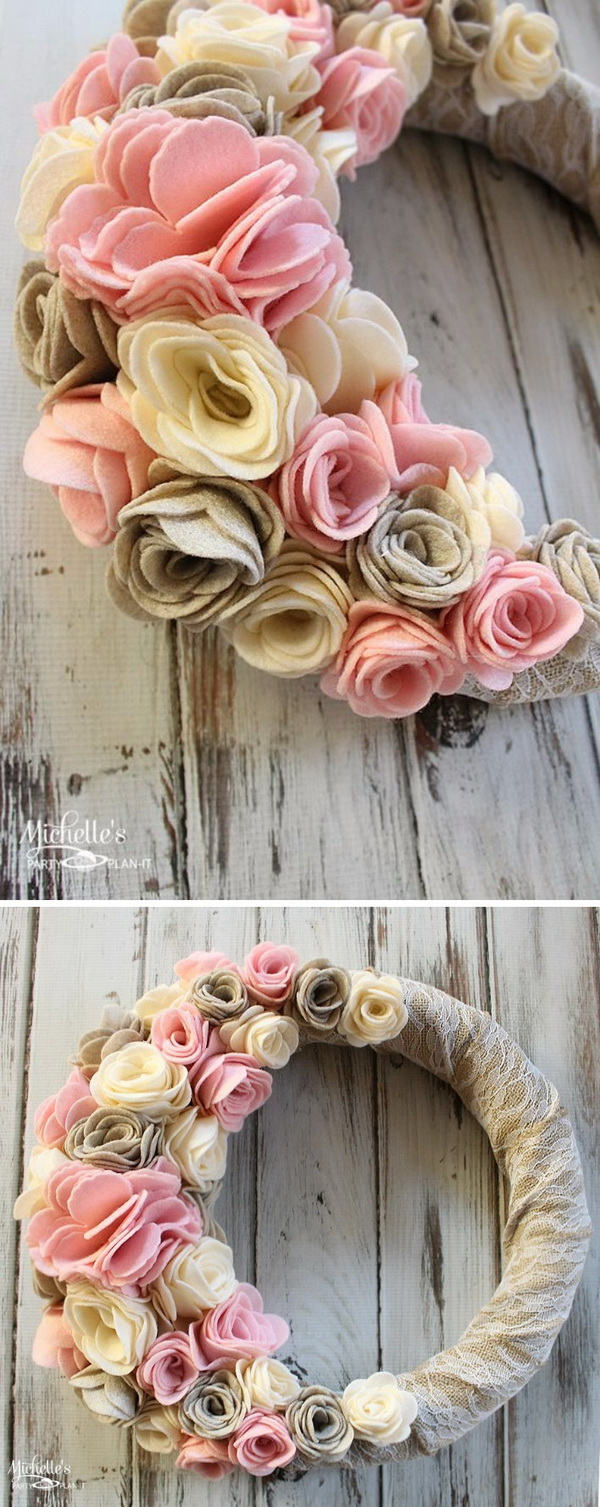 Awesome DIY Burlap and Felt Flower Wreath