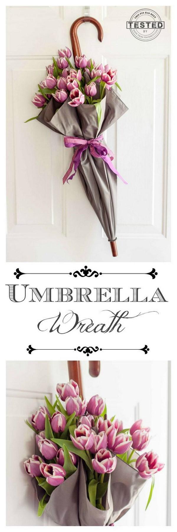 DIY Umbrella Spring Wreath