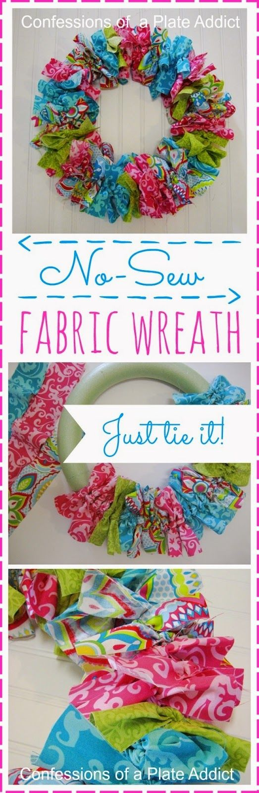 Easy No-Sew Fabric Wreath.