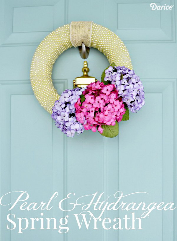 Pearl and Hydrangea DIY Spring Wreath